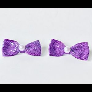 Lavender bow hair clip set with pearl detail